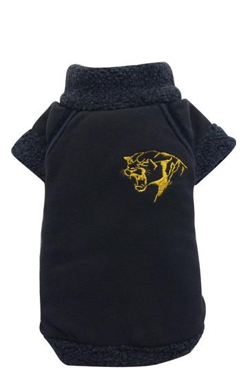 DoggyDolly® Fleece-Hundepullover mit Panther-Stickerei (schwarz)