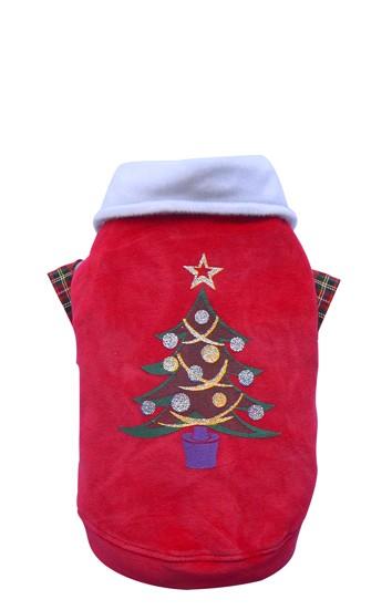 DoggyDolly® Samt-Hundepullover mit Weihnachtsbaummotiv und Hemdkragen (rot)