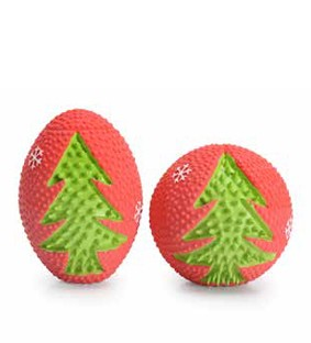 Camon® Weihnachtlicher Hundeball mit Noppen und Quietscheffekt