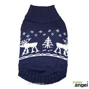 "Puppy Angel® Winter-Hundepullover ""Northern Reindeers"" (marineblau)"