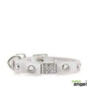 """Puppy Angel® """"Miami"""" Kunstlederhalsband mit Kristallen (silber)"""