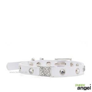 """Puppy Angel® """"Miami"""" Kunstlederhalsband mit Kristallen (weiß)"""