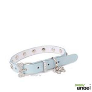 """Puppy Angel® """"Crystal Bone"""" Kunstlederhalsband mit einem Strass-Anhänger (hellblau)"""