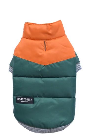 DoggyDolly® Zweifarbige Hunde-Steppjacke (smaragdgrün-orange)