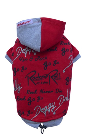"DoggyDolly® Hunde-Sweatshirt ""Rock and Roll"" (rot)"