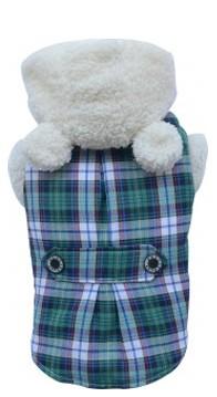 DoggyDolly® Karierter Hundemantel Teddyfleece-Futter (grün)