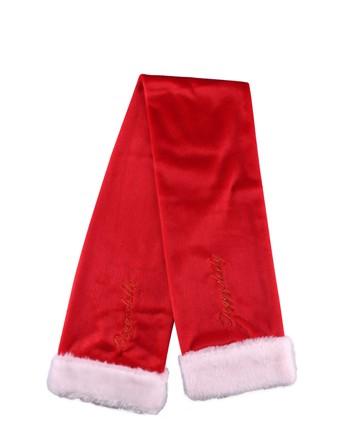 DoggyDolly® Hunde-Weihnachtsschal mit Kunstfell-Borte (rot)