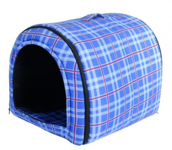 "Camon® karierte runde Hundehöhle ""Scottish"" - blau"
