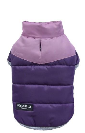 DoggyDolly® Zweifarbige Hunde-Steppjacke (violett-lila)