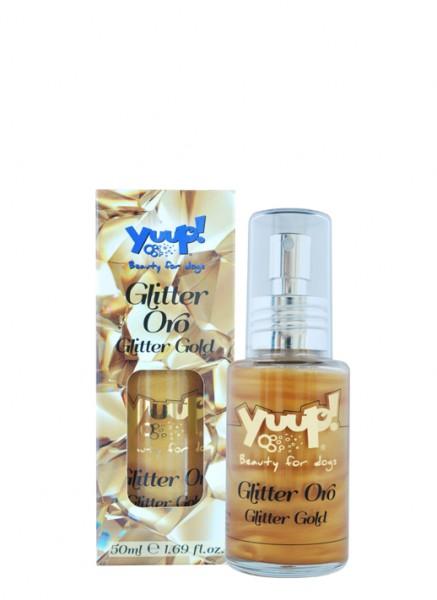 Yuup!® Fashion Glitter Gold: Goldfarbenes parfümiertes Glitzerspray für Hundefell