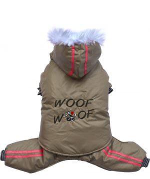 "Doggydolly® 2-in-1 Hundeschneeanzug ""Woof woof"": Hundejacke mit abnehmbarer Hose & Kapuze (beige)"
