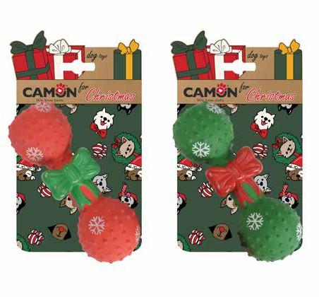 Camon® Weihnachtliche Hundespielhantel mit Noppen und Quietscheffekt