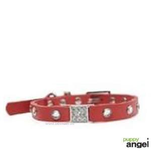 """Puppy Angel® """"Miami"""" Kunstlederhalsband mit Kristallen (rot)"""