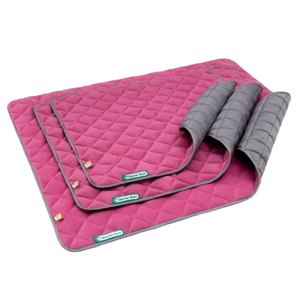 Doctor Bark® Hunde-Fleecewendesteppdecke (pink/hellgrau)