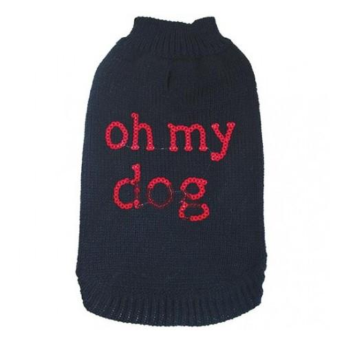 """Doogy!® Hundepullover mit Pailletten """"Oh my dog"""" (schwarz)"""