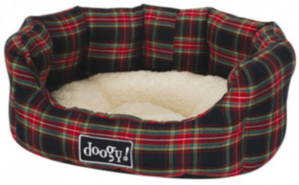 "Doogy!® Rundes Hundebett ""Scottish"" - blau kariert"