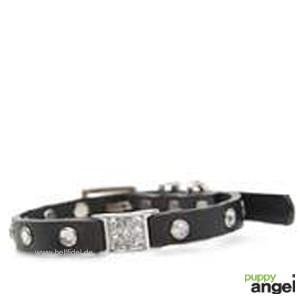 """Puppy Angel® """"Miami"""" Kunstlederhalsband mit Kristallen (schwarz)"""