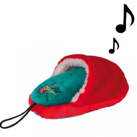 CHADOG® Weihnachtliches Hundespielzeug Pantoffel mit Quietscheffekt