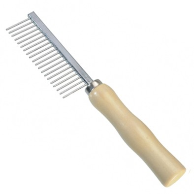 Camon® Hundekamm mit 21 Zähnen und Holzgriff - grob