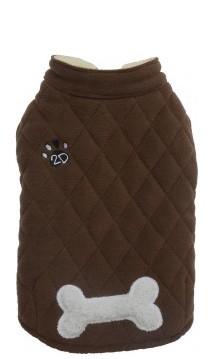 "DoggyDolly® Fleece-Hundeweste ""2D"" mit Knochenapplikation (braun)"