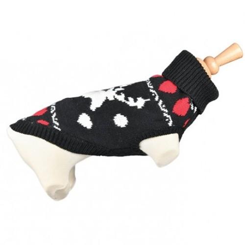 Doogy!® Weihnachlicher Hundepullover mit Hirsch und Herzen (schwarz)