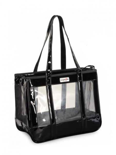 CAMON® transparente atmungsaktive Hundetragetasche - schwarz