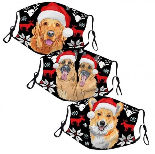 Wiederverwendbare MNS-Maske / Mundschutz aus Textil mit Hundemotiv (3 Stück im Set)