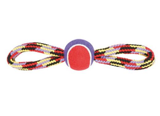 Chadog® Hundespielseil mit Tennisball und zwei Schlaufen / bunt