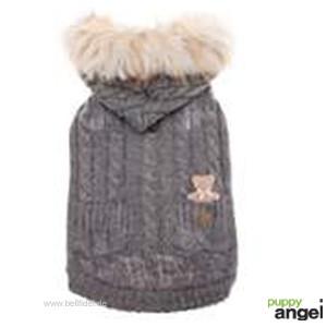 "Puppy Angel® Hundestrickjacke mit Kapuze ""Bear in my Pocket"" (grau)"
