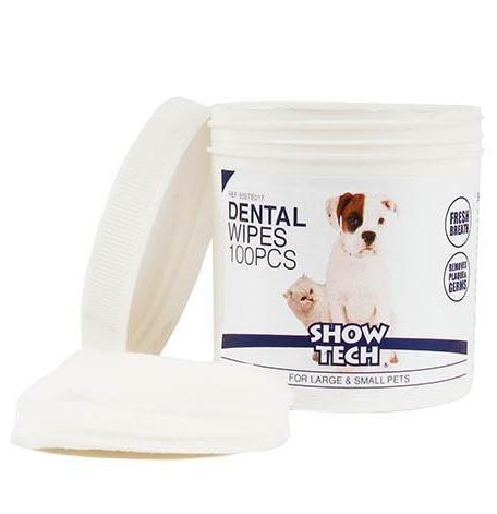 ShowTech® Zahnreinigungspads für Hunde (Dose mit 100 Pads)