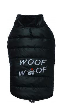 "DoggyDolly® Hundesteppweste ""Woof woof"" (schwarz)"