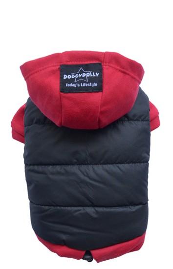 DoggyDolly® Sportliche Hundejacke mit Kapuze (schwarz-rot)
