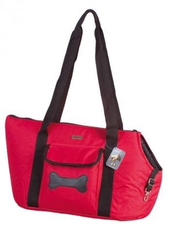 Doogy!® Weiche Hundetragetasche mit Knochenapplikation - rot