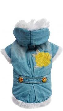 DoggyDolly® Jeans-Hundemantel mit Stickerei und Teddyfleece-Futter (hellblau)