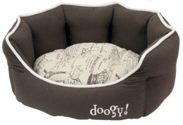 """Doogy!® Rundes Hundebett """"Frenchie"""" - braun-beige"""