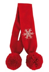 WOUAPY® Hunde-Weihnachtsschal mit Pompons (rot)