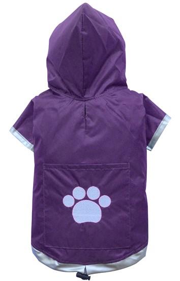 DoggyDolly® Hunderegenmantel mit Kapuze und Pfotenstickerei (violett)