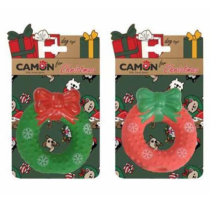 """Camon® Hundespielzeug """"Weihnachtskranz"""" aus Latex mit Noppen und Quietscheffekt"""