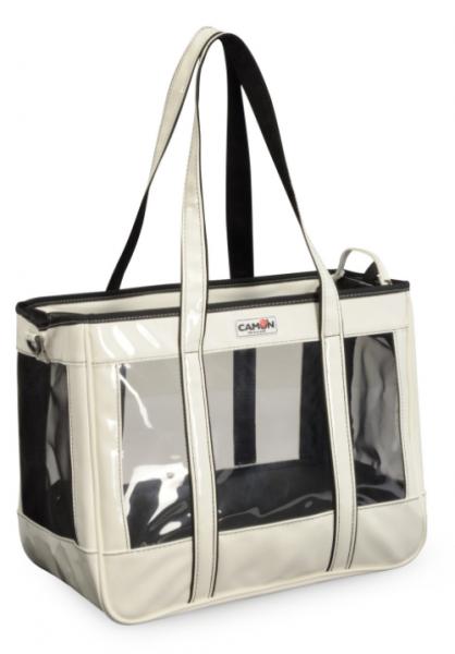 CAMON® transparente atmungsaktive Hundetragetasche - cremeweiß