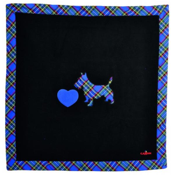 Camon® Fleece Hundedecke mit Westie & Herz Applikation - blau/schwarz